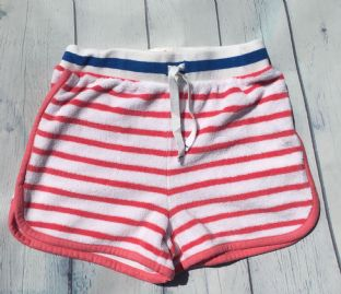 Johnnie B pinky red and white striped towelling shorts age 7 (fits age 6-7)